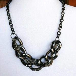 """22"""" Chunky Mixed Metal Grey Statement Necklace"""